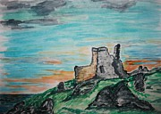 Storm Drawings - Kenbane Castle by Paul Morgan
