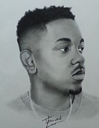 Signed Drawings Framed Prints - Kendrick lamar charcoal Framed Print by Lance  Freeman