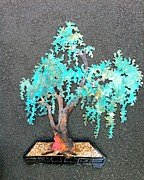 Bonsai Sculpture Posters - Kengai Copper Bonsai Wall Sculpture Poster by Vanessa Williams