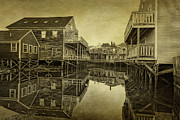 Brown Toned Art Framed Prints - Kennebunkport Dock Square Framed Print by Priscilla Burgers