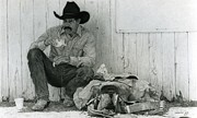 Cowboy Pencil Drawing Prints - Kenneths T Lunch Print by Paul VerBurg