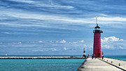 Kenosha Wisconsin Framed Prints - Kenosha North Pier LIghthouse Framed Print by Joan Carroll