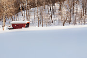 Winter Scene Photo Prints - Kent Falls Covered Bridge Print by Bill  Wakeley