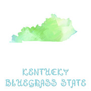 Abstract Map Mixed Media Posters - Kentucky - Bluegrass State - Map - State Phrase - Geology Poster by Andee Photography