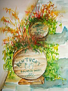 Barrel Painting Originals - Kentucky Bourbon Barrels by Elaine Duras