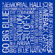Memorial Hall Posters - Kentucky College Colors Subway Art Poster by Replay Photos