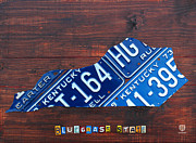 Map Art Mixed Media Prints - Kentucky License Plate Map The Bluegrass State Print by Design Turnpike