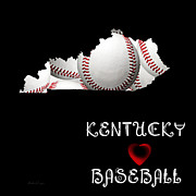 Abstract Map Posters - Kentucky Loves Baseball Poster by Andee Photography