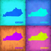 Kentucky Prints - Kentucky Pop Art Map 1 Print by Irina  March