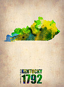 Us State Map Prints - Kentucky Watercolor Map Print by Irina  March