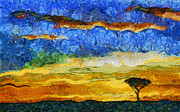 Kenyan Sunrise Print by Marina Likholat