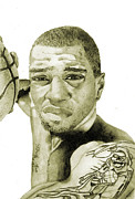 Nba Drawings Metal Prints - Kenyon Martin Metal Print by Michael  Pattison