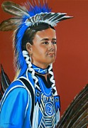 Taos Drawings Posters - Kenyon Rainer pow wow dancer Poster by George Chacon