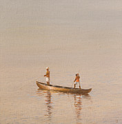 Fishing Paintings - Kerala Fishermen by Lincoln Seligman