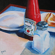 Ketchup Paintings - Ketchup and Salt by Pamela Burger
