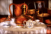 Cups Prints - Kettle -  Have some Tea - Chinese tea set Print by Mike Savad