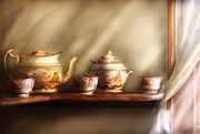Shelf Framed Prints - Kettle - My Grandmothers Chinese Tea Set  Framed Print by Mike Savad