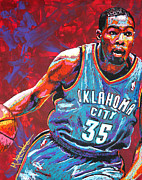Thunder Painting Metal Prints - Kevin Durant 2 Metal Print by Maria Arango