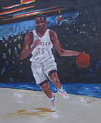 Basketball Paintings - Kevin Durant by Barbara Sudik