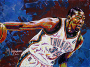 Thunder Painting Metal Prints - Kevin Durant Metal Print by Maria Arango