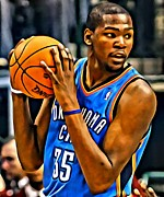 Slam Dunk Framed Prints - Kevin Durant Portrait Framed Print by Florian Rodarte