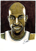 All Star Game Drawings Posters - Kevin Garnett Portrait Poster by Dave Olsen