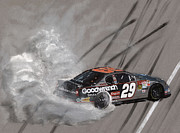 Tire Mixed Media Originals - Kevin Harvick-Victory Burnout by Paul Kuras