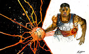 Basketball Mixed Media Prints - Kevin Johnson - Power Supplier  Print by Michael  Pattison