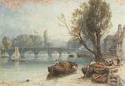 Boats On Water Digital Art Posters - Kew Bridge From Standing On The Green Poster by Myles Birket Foster