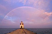U.s. Steel Framed Prints - Kewaunee Pierhead Lighthouse and Rainbow - D002811 Framed Print by Daniel Dempster