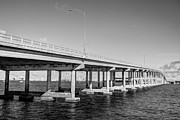 Eyzen Medina Framed Prints - Key Biscayne Bridge BW Framed Print by Eyzen Medina