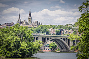 Potomac River Posters - Key bridge and Georgetown University Poster by Bradley Clay