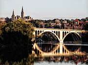 Georgetown Metal Prints - Key Bridge and Georgetown University Washington DC Metal Print by Bill Cannon