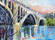 Washington Dc Paintings - Key Bridge DC by Karen Tarlton