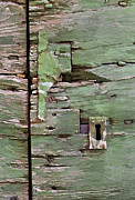 Door Hinges Posters - Key Hole on a Green Weathered Wood Door Poster by David Letts