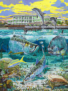 Fly Fishing Prints - Key Largo grand slam Print by Carey Chen