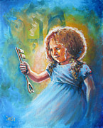 Worship God Paintings - Key of Heaven by Cindy Elsharouni