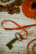 Handwritten Framed Prints - Key on red ribbon Framed Print by Garry Gay
