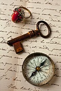 Handwritten Framed Prints - Key ring and compass Framed Print by Garry Gay