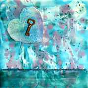 Featured Mixed Media Acrylic Prints - Key To My Heart Acrylic Print by Pattie Calfy