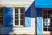 Crowd Scene Art - Key West Blue Shutters by Leanne Howie