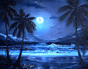 Key West Paintings - Key West by Moonlight by Earl Butch Curtis