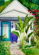 Green Foliage Metal Prints - Key West Cottage Watercolor Metal Print by Michelle Wiarda