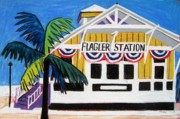 Key West Paintings - Key West Flagler by Lesley Giles