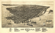 Drawn Framed Prints - Key West Florida Map 1884 Framed Print by Daniel Hagerman