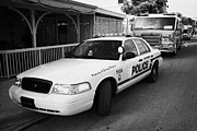 Patrol Car Acrylic Prints - Key West Police Patrol Squad Car And Key West Fire Dept Engine Florida Usa Acrylic Print by Joe Fox