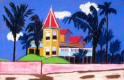Key West Paintings - Key West Southern House by Lesley Giles