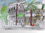 Key West Drawings - Key West Street by Michael Chatman