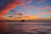 Sailboats In Water Prints - Key West Sunset Print by Susan Hale