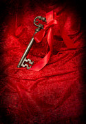 Red Fabric Art - Key With Ribbon by Christopher Elwell and Amanda Haselock
